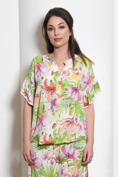 Amanda Henley Top with Ruffle Sleeves, Orchid Floral