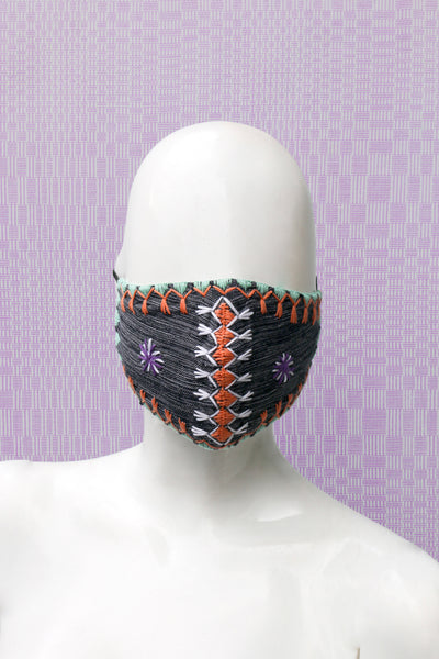 Angkan Tribal Reusable Mask, Blu/Wht/Lime