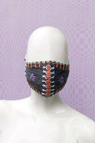 Angkan Tribal Reusable Mask, Blk/Salmon/Aqua