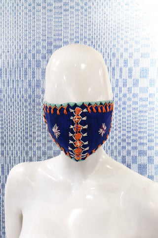 Angkan Tribal Reusable Mask, Blu/Org/Wht