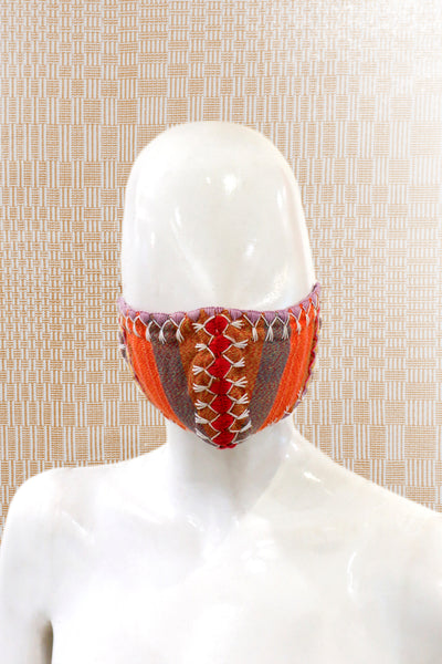 Angkan Tribal Reusable Mask, Org/Red/Wht