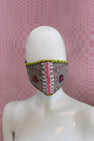 Angkan Tribal Reusable Mask, B2 Blk/Pnk/Lim