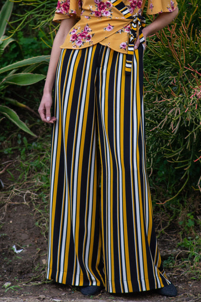 Blayze Wide-Leg Pants, Stripe Blk/Gold