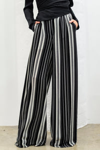 Blayze Wide-Leg Pants, Stripe Blk/Wht