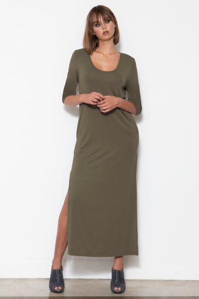 Camryn Scoop-neck Column Dress, Olive