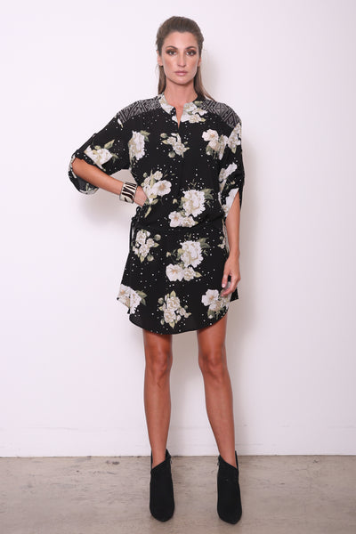 Candice-M Tunic Shirt Dress w/ Handwoven, Black/White