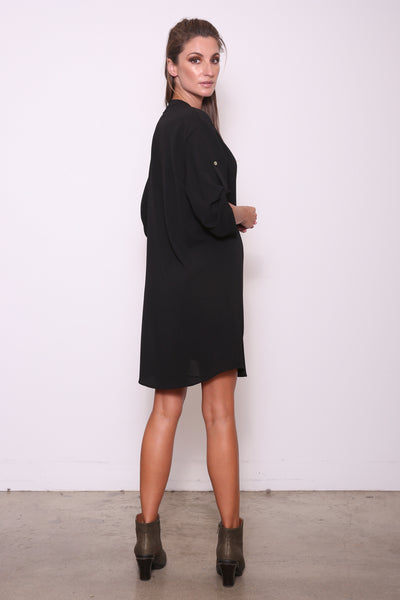 Candice Loose-Fit Tunic Shirt Dress, Black
