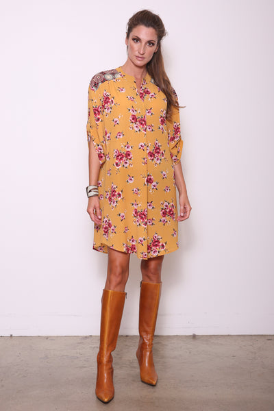 Candice-M Tunic Shirt Dress w/ Handwoven, Gold/Maroon