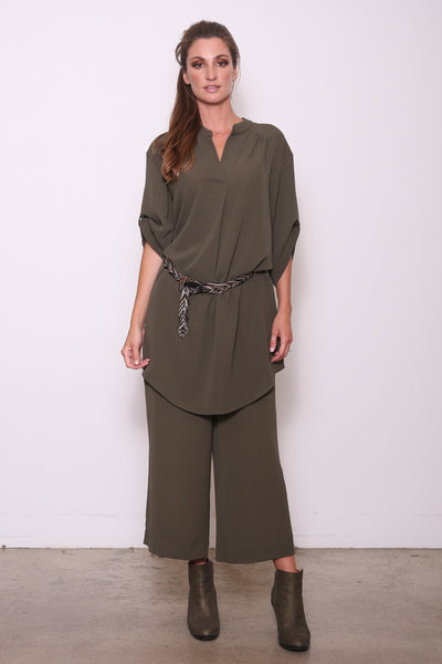Candice Loose-Fit Tunic Shirt Dress, Olive