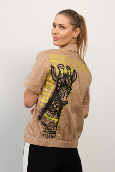 Cassi-Print Upcycled Hand-Painted 2-way Shirt, Kha/Blk/Ylw