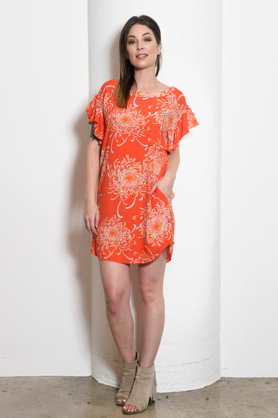 Cheryl Ballet Neck Shift Tunic Dress, Mum Floral