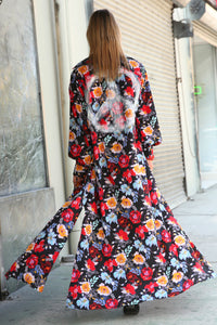 Christine Upcycled Hand-Painted Maxi Shirt Dress, Vibrant Floral