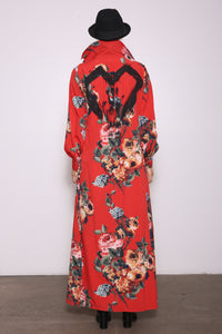 Christine Upcycled Hand-Painted Maxi Shirt Dress, Majestic Rose