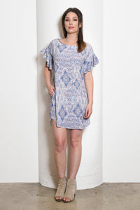 Cheryl Ballet Neck Shift Tunic Dress, Ikat Print