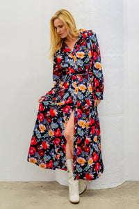 Christine Maxi Shirt Dress, Vibrant Floral