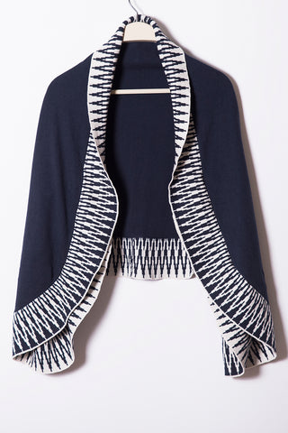 Farrah Tulip Shrug Shawl, Zigzag Border