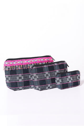 Binakul Pouch Set w/ Applique, Set of 3 (indigenous), Pink/Black