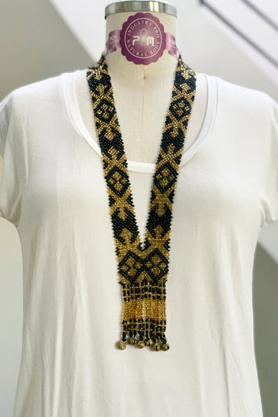 Dulay Tribal Beaded Necklace, Black/Gold