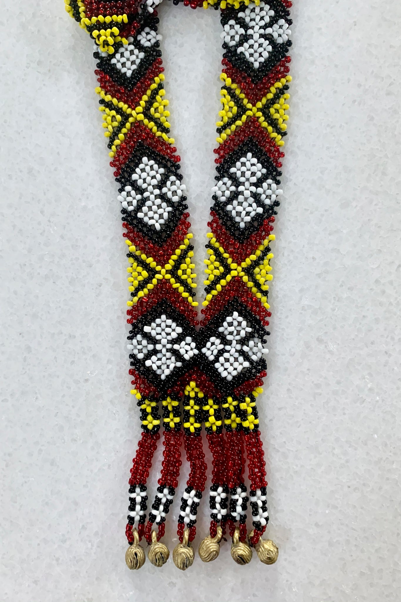 Dulay Tribal Beaded Necklace, Yellow/Red/Black