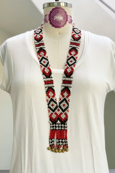 Dulay Tribal Beaded Necklace, White/Red/Black
