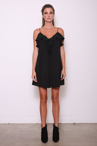 Evelyn Ruffle Cami Tunic Dress, Black Crepe