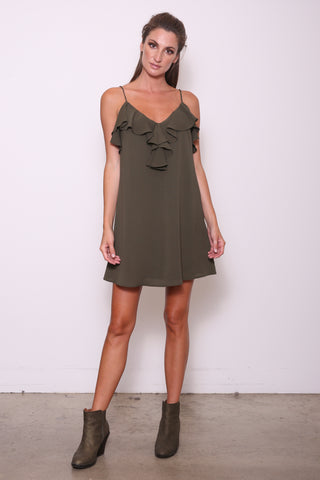 Evelyn Ruffle Cami Tunic Dress, Olive Crepe