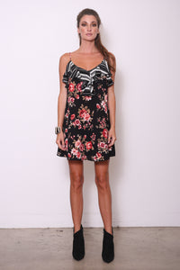 Evelyn Ruffle Cami Tunic Dress, Black/Red Floral