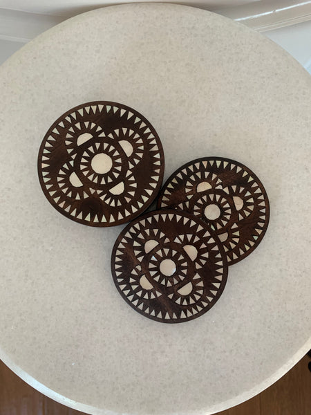 Wood & Mother-of-Pearl Coasters, Flower