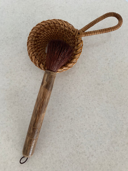 Rattan/Bamboo Tea Strainer & Brush Set