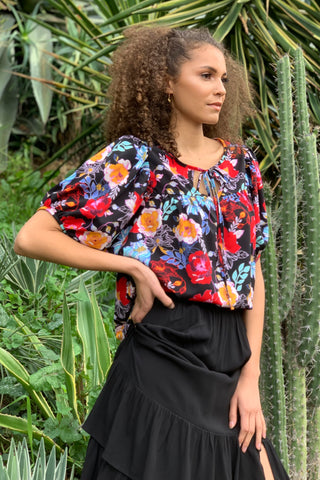 Taryn Yoke Top w/ Bubble Sleeves, Vibrant Floral