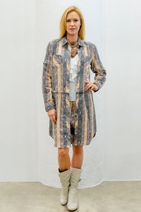 Jasmine Convertible Shirt-Dress, Maize Ikat