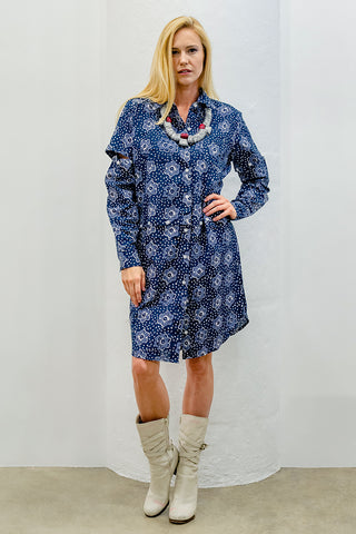 Jasmine Convertible Shirt-Dress, Indigo Batik