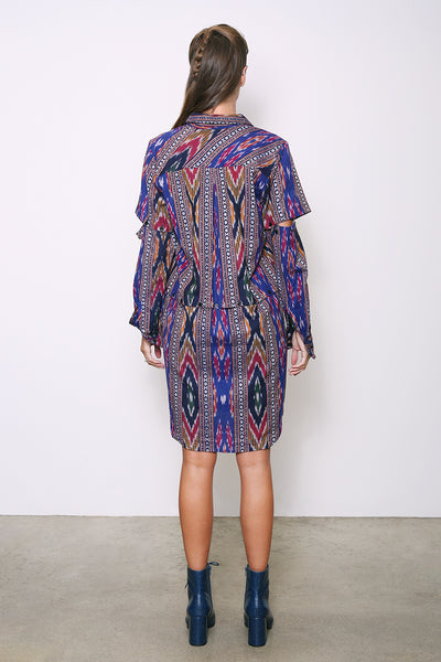 Jasmine Convertible Shirt-Dress, Multi Ikat