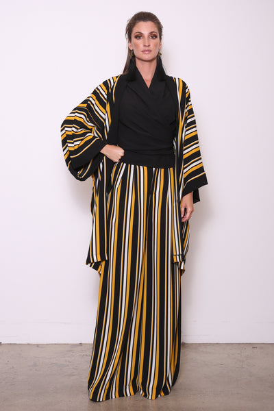 Mollie Mixed Media Duster Wrap, Black/Gold Stripe