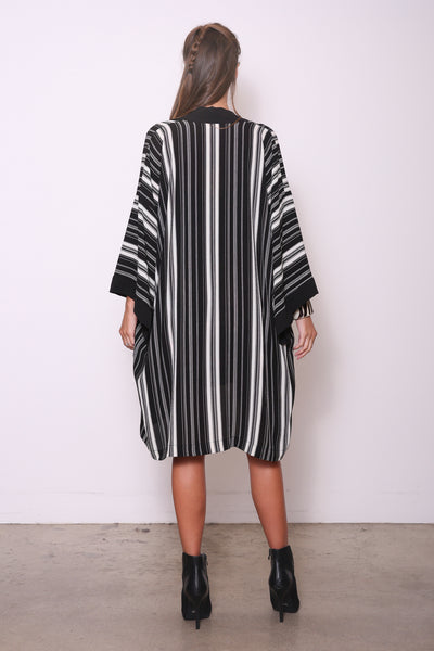 Mollie Mixed Media Duster Wrap, Black/White Stripe