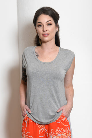 Katelynn Shirttail Top, H. Grey