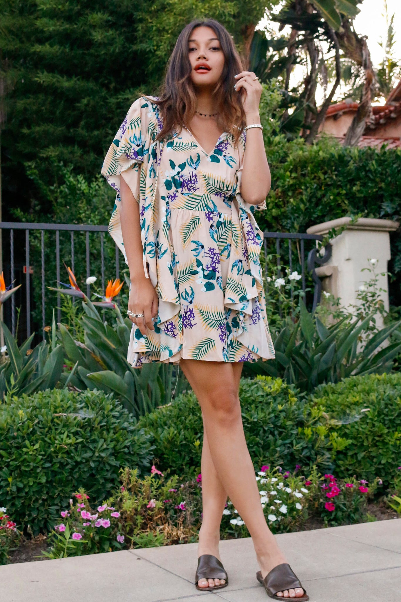 Kathleen Cascade Dress, Maize Floral