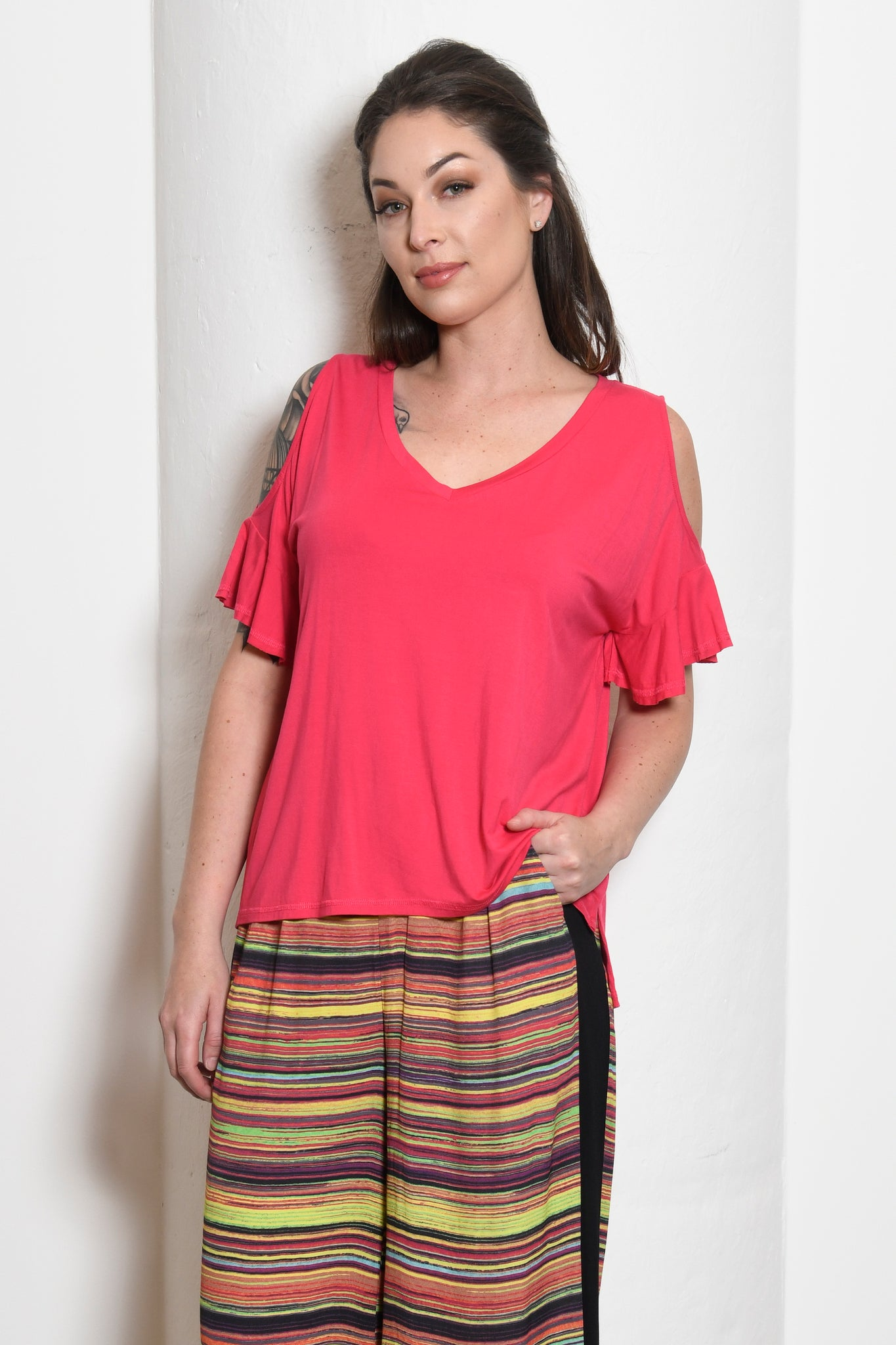 Kira Convertible Ruffle-Sleeve Top, Magenta