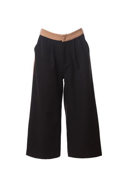Queenie Gaucho Cullotte Pants, Black/Camel