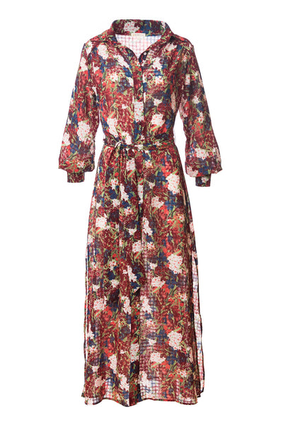 Christine Maxi Shirt Dress, Watercolor Floral