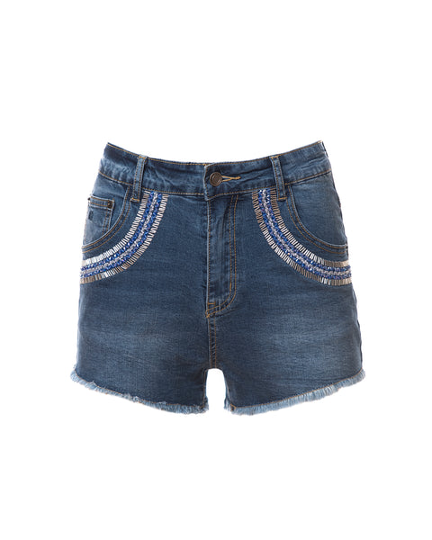 Samantha Beaded Denim Shorts, Indigo/Blue/Silver