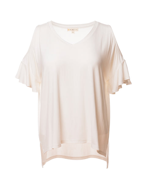 Kira Convertible Ruffle-Sleeve Top, Ivory