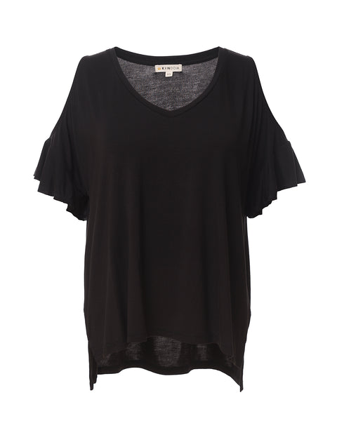 Kira Boxy Drape Ruffle-Sleeve Top, Black