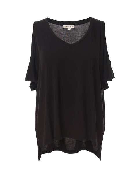 Kira Convertible Ruffle-Sleeve Top, Black