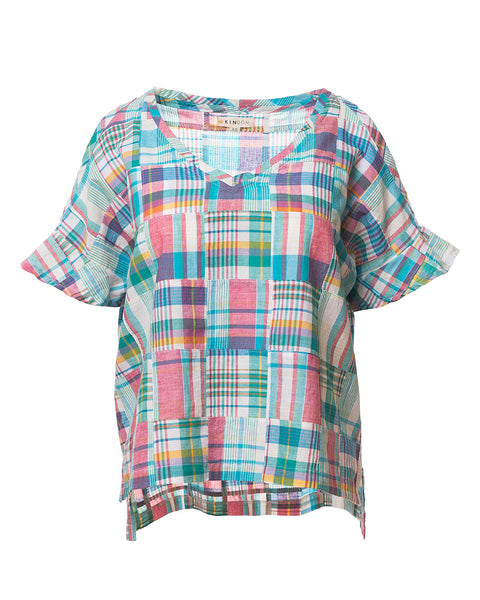 Kira Patchwork Plaid Ruffle-Sleeve Top, Turq/Pink