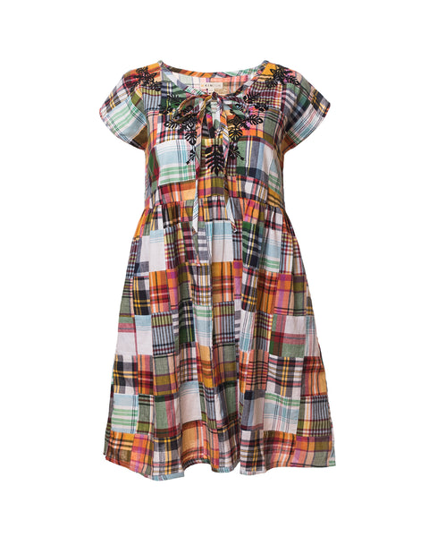 Kimberly Patchwork Plaid Dress, Black/Multi