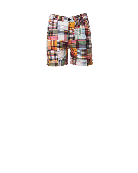 Chris Patchwork Plaid Convertible Pants, Black/Multi