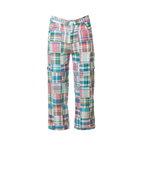 Chris Patchwork Plaid Convertible Pants, Turq/Pink