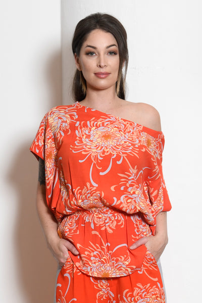 Lina Foldover Origami Sleeve Top, Mum Floral