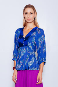 Luisa Upcycled Top (from Dress) with Indigenous Front Yoke, Cobalt